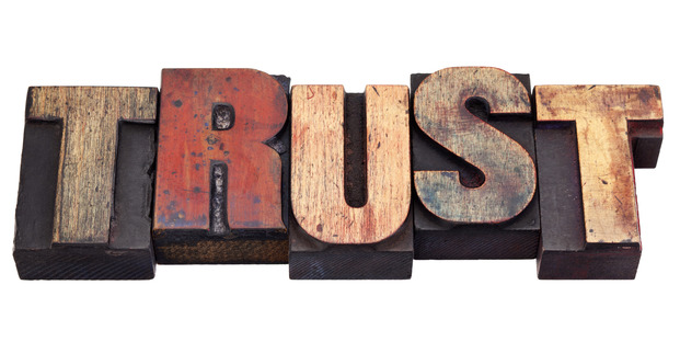 trust word in vintage grunge wooden letterpress printing blocks, isolated on white